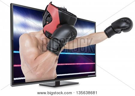 Side view of boxer hitting straight against composite image of boxing ring