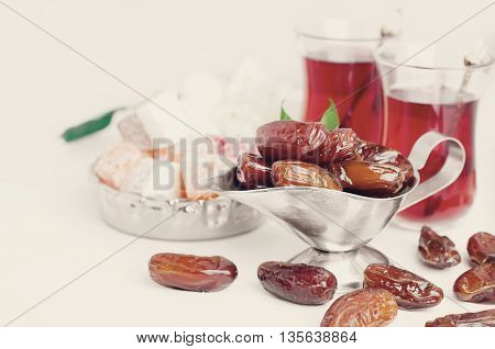 Traditional Arabic Tea Set And Dried Dates.