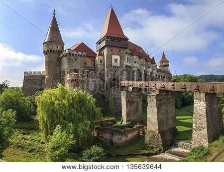 Beautiful panorama of the Corvin castle in Transylvania
