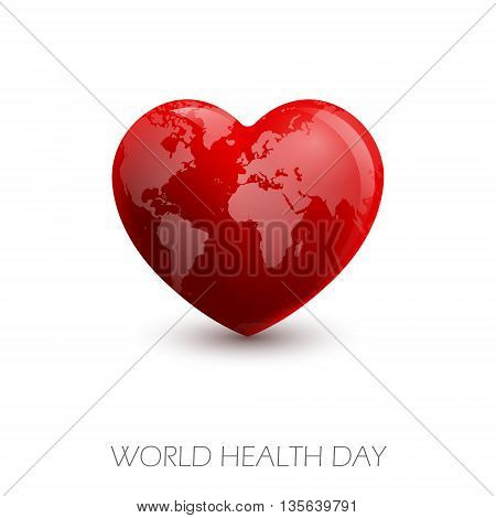 Vector illustration World Heart Day Background.  Heart with image map