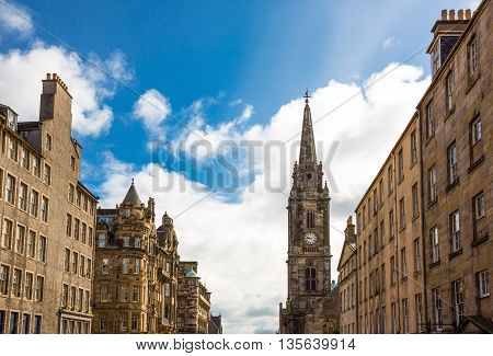 Great Britain Scotland Edinburgh the Royal Mile looking towards Holyroodwith the Tron Kirk bell tower in the background.