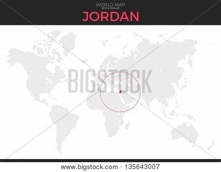 Hashemite Kingdom of Jordan location modern detailed vector map. All world countries without names. Vector template of beautiful flat grayscale map design with selected country and border location