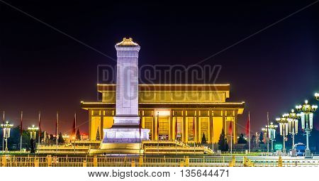 Monument to the People's Heroes and Mausoleum of Mao Zedong on Tiananmen square in Beijing, China poster