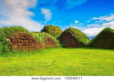 Backyard rural houses. The reconstituted village - Pioneer Museum - Viking. The village first settlers in Iceland