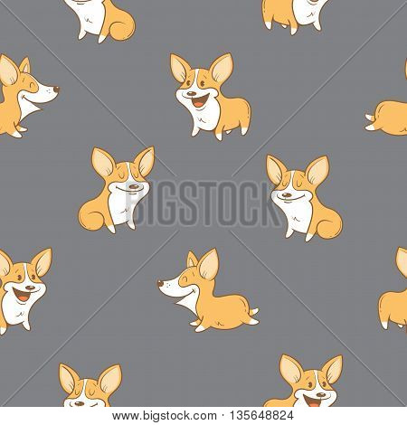 Seamless pattern with cute cartoon dogs breed Welsh Corgi Pembroke on gray  background. Little puppies.  Children's illustration. Vector image. Funny animals.
