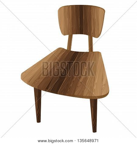Wooden chair. One wooden chair on a white background. Brown wooden chair.