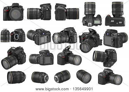 Set digital DSLR photo camera professional. 3D graphic