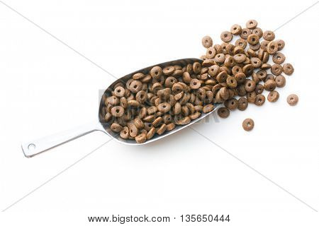 Dry kibble dog food in metal scoop  isolated on white background. Top view.