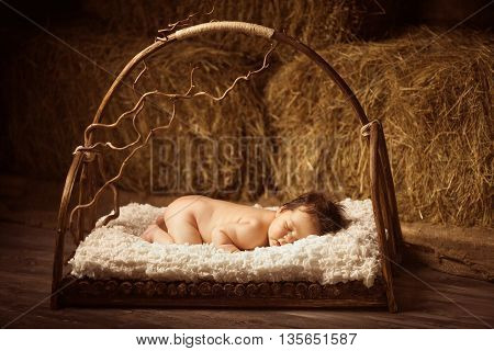 Cute sleeping newborn baby in a wooden lullaby bed on hay background. Studio shot.