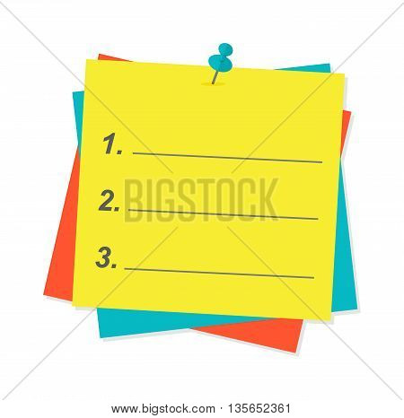 Yellow sticky note isolated on white background vector illustration. Message office paper yellow note. Yellow note sheet sticky business paper blank note paper. Adhesive notice announcement reminder.