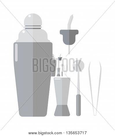 Classic cocktail barman drinks shaker vector illustration. Barmen drinks shaker bar alcohol cocktail party beverage. Aluminum celebration shiny isolated steel equipment barmen drinks shaker.
