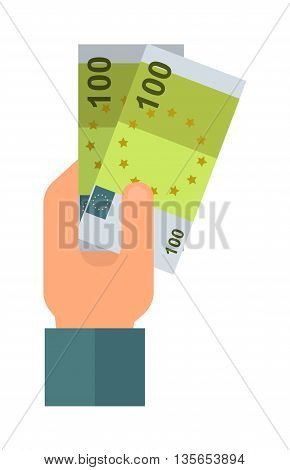 Donate money hand business, donation concept. Donate hand money business hand sign on white background. Vector donate volunteer hand with dollars concept.