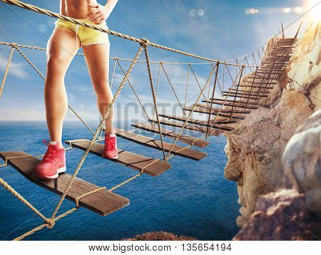 3D Rendering of woman walks on a crumbling bridge