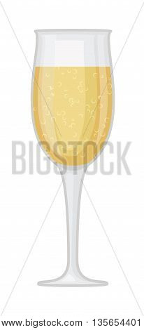 Champagne wine in a glass isolated on white background and vector drink. Glass of champagne alcohol beverage celebration grape merlot. Gourmet restaurant party alcohol champagne.