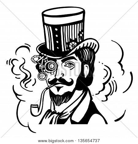 Steampunk man in top hat and glasses with the beard and moustache and a smoking pipe, retro, vector illustration, man, steampunk, industrial, machine, vintage, sketch, hand drawn