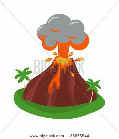Volcano eruption stromboli with spectacular eruptions. Eruption crater mountain volcano hot natural eruption nature. Volcano erupt ash fire hill landscape outdoor geology eruption exploding ash.