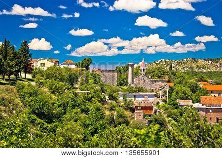 Town of Drnis old church and minaret ruin of Ottoman empire mosque inner Dalmatia Croatia
