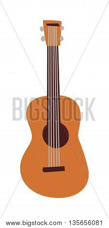 Classical acoustic guitar isolated on white background. Single instrument vector popular guitar isolated music instrument. Sound wood, acoustic musical guitar isolated music equipment.