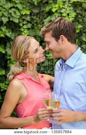 Happy couple toasting wineglasses at front yard
