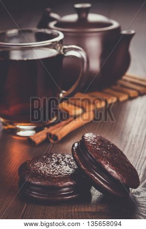 chocolate cookies on the table teatime concept