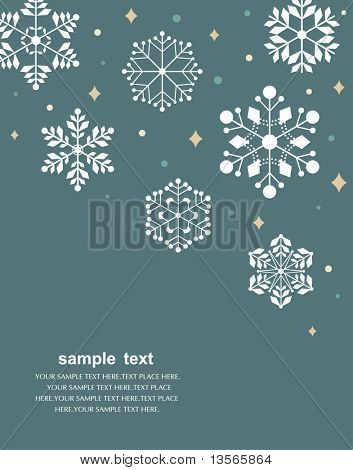 Vector set of snowflakes background poster