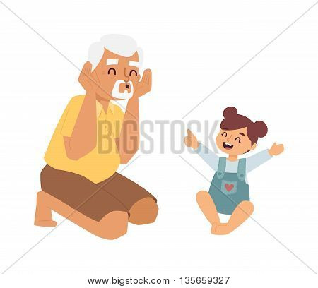 Family playing game together at home. Enjoying time smile kid old granddaughter family games. Vector characters granddaughter and grandfather family indoors games happy concept leisure.