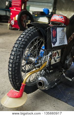 Rivne Ukraine - 11 October 2015: Rear wheel motorcycle in preparation for the race to the park service at the Open Cup Speedway to the day of the city Rivne