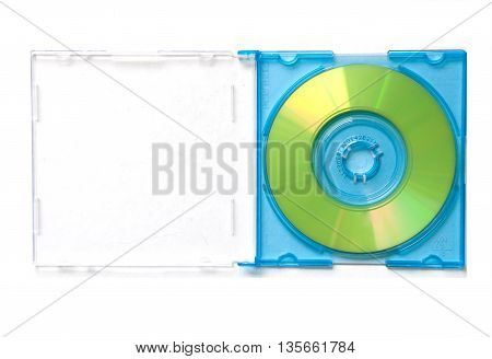 Mini CD in blue box on white background