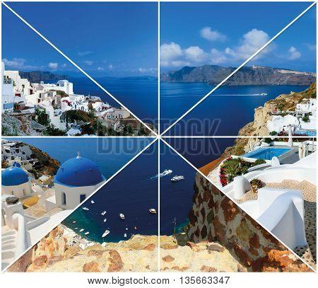 Set of summer photos in Santorini island Greece