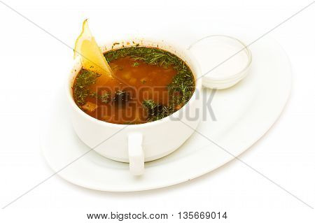 Solyanka soup russian cuisine on white background