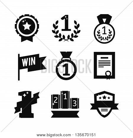 Black silhouette sports awards and black silhouette sport awards in flat design style. Sports awards black silhouette vector and winner cup sports awards. Sports awards trophy victory prize cup black