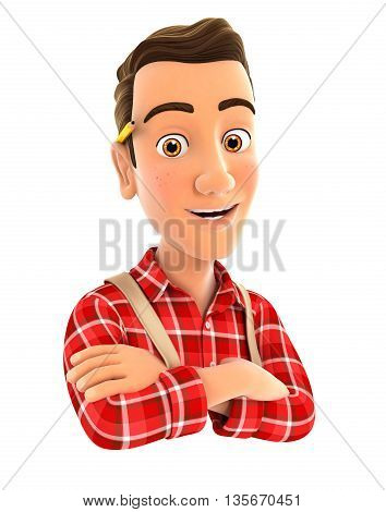 3d handyman with arms crossed illustration with isolated white background