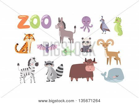 Vector zoo animals. Many different animals panda, sea whale, octopus, buffalo, goat. Donkey, tiger, zebra, bat, fish, raccoon. Zoo animal character safari collection and cartoon cute zoo animals.