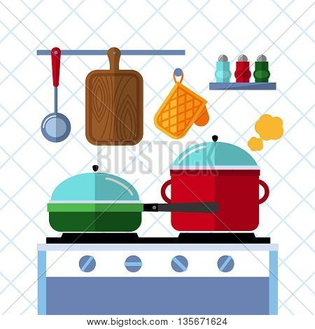 Pots and pans on a stove, Kitchen cooking flat vector concept background. Pot and pan kitchen, cooking pot and pan, dinner in pan, domestic pot illustration