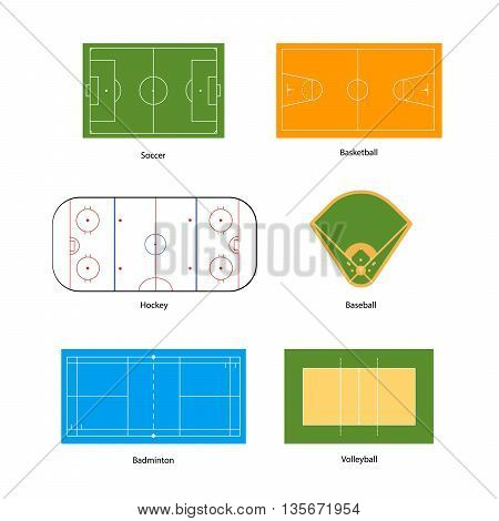 Sport fields marking for soccer basketball volleyball baseball hockey and badminton isolated on white