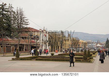 Kislovodsk, Russia - 28 February, People in the city boulevard, 28 February, 2016. Resort zone Mineral Waters, Krasnodar region.