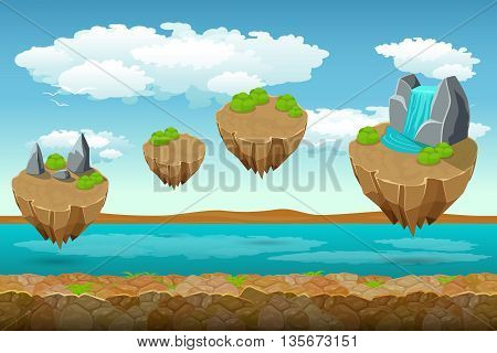 Jumping islands game pattern, the river bottom and cloudy sky on top. Unending background for game. Ui play, layer level, surface unending, soaring island, panorama island. Vector illustration