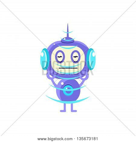 Robot Recieving Radio Signal Flat Childish Cartoon Style Vector Drawing Isolated On White Background
