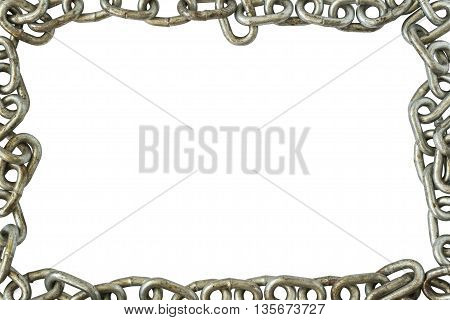 Frame Chain, Rusty Chains Isolated on White Background, Chain Link