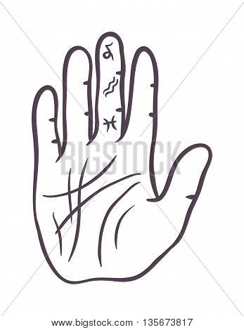 Pencil drawing fist hand sketch gesture vector illustration. Hand sketch human drawing creativity concept. Palm symbol divination, life line hand sketch inspiration, touch vector hand drawn element.