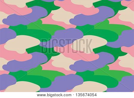 Camouflage fabric colorful military style seamless print pattern vector illustration