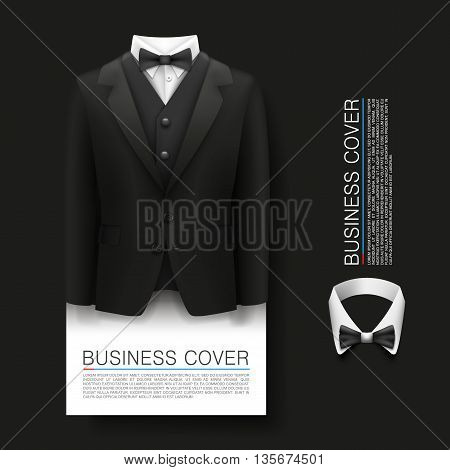 Tuxedo cover background. Cover Business. Complimentary ticket, Suit 3d object, Vector illustration