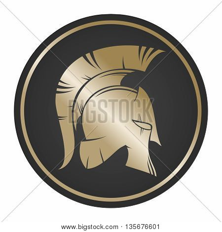 Vector Spartan Shield and Helmet Illustration, gold color isolated on white background