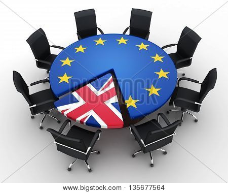 Abstract disintegration Euro union and Britain (done in 3d rendering) poster