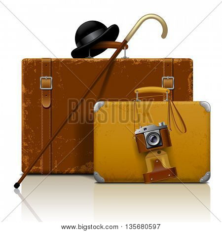 Old suitcases with walking stick, bowler hat and retro photo camera isolated on white.  Vintage voyage and traveling accessories. 3D illustration. Contain the Clipping Path