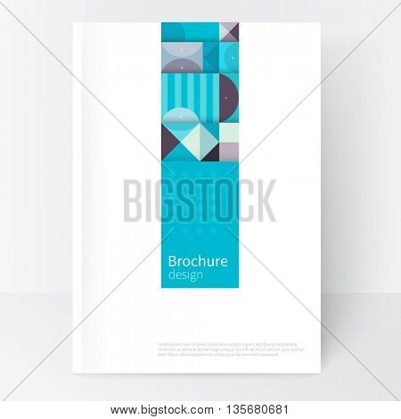 Minimalistic white cover template. Book design creative concept  cover for catalog, report, brochure. Pastel color turquoise, violet & blue. abstract geometric shapes. Squares, triangles and circles