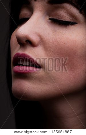 Close Up On Woman With Sensual Expression