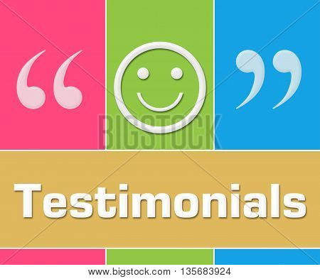 Testimonials concept image with text and related keywords.