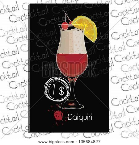 Vector illustration of Cocktail Daiquiri with price on chalk board. Template elements for cocktail menu. Hand drawn drink for cocktail bar