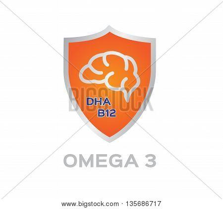 omega 3 icon and logo , vector . omega 3 shield set